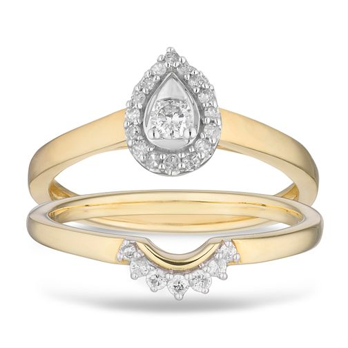 9ct Yellow Gold 0.16ct Diamond Perfect Fit Pear Bridal Set - Product number 2882906