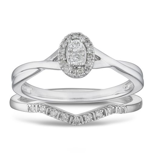 9ct White Gold 0.15ct Diamond Perfect Fit Oval Bridal Set - Product number 2883031