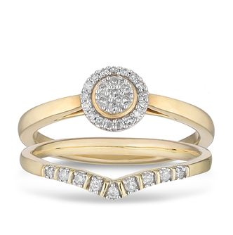 9ct Yellow Gold 0.16ct Diamond Perfect Fit Bridal Set - Product number 2883406