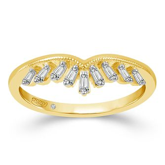 Emmy London 9ct Yellow Gold 1/10ct Diamond Tiara Ring - Product number 2883678