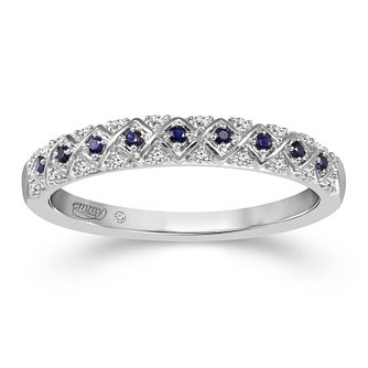 Emmy London 18ct White Gold Sapphire & Diamond Eternity Ring - Product number 2883961