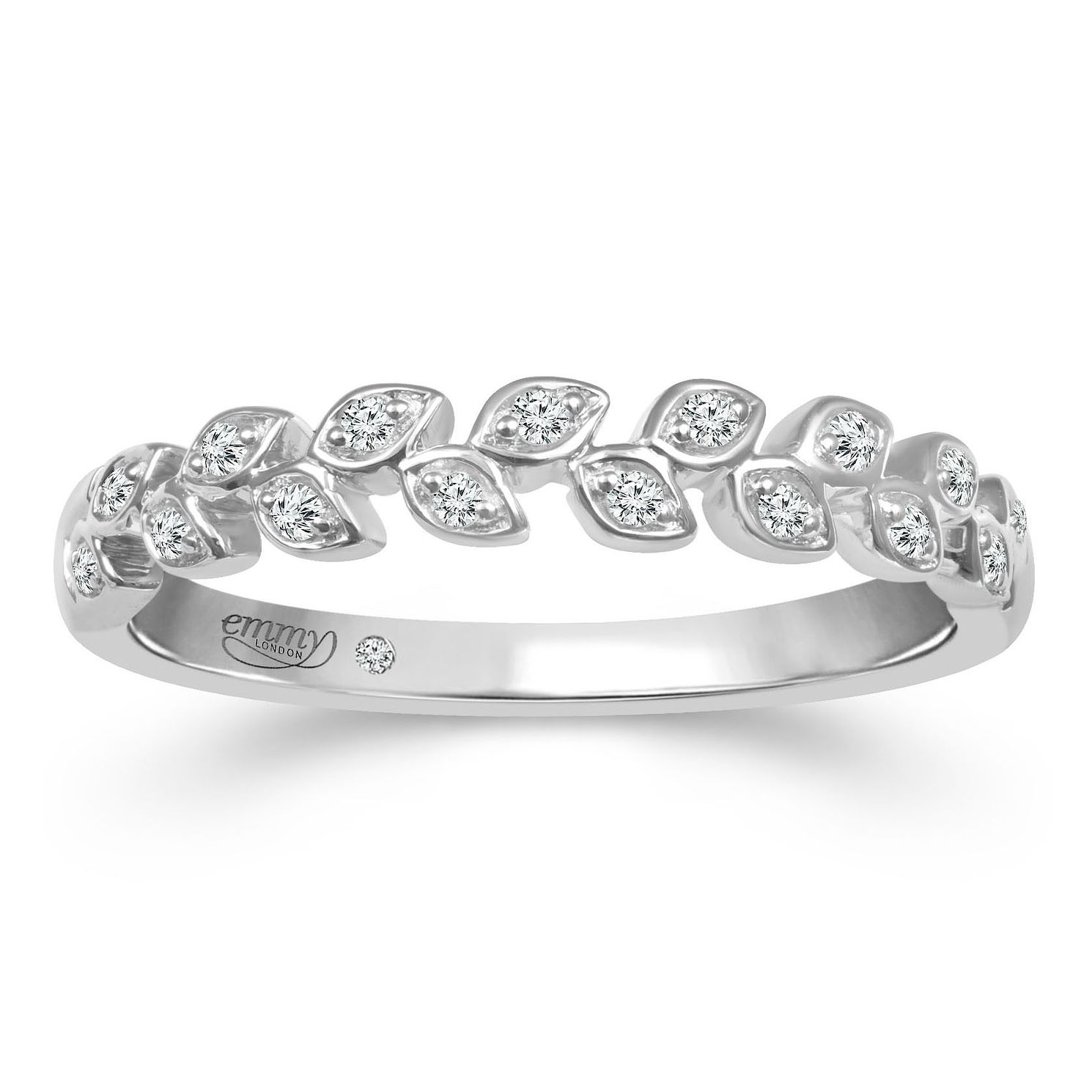 Emmy London 18ct White Gold Diamond Leaf Eternity Ring - Product number 2884402