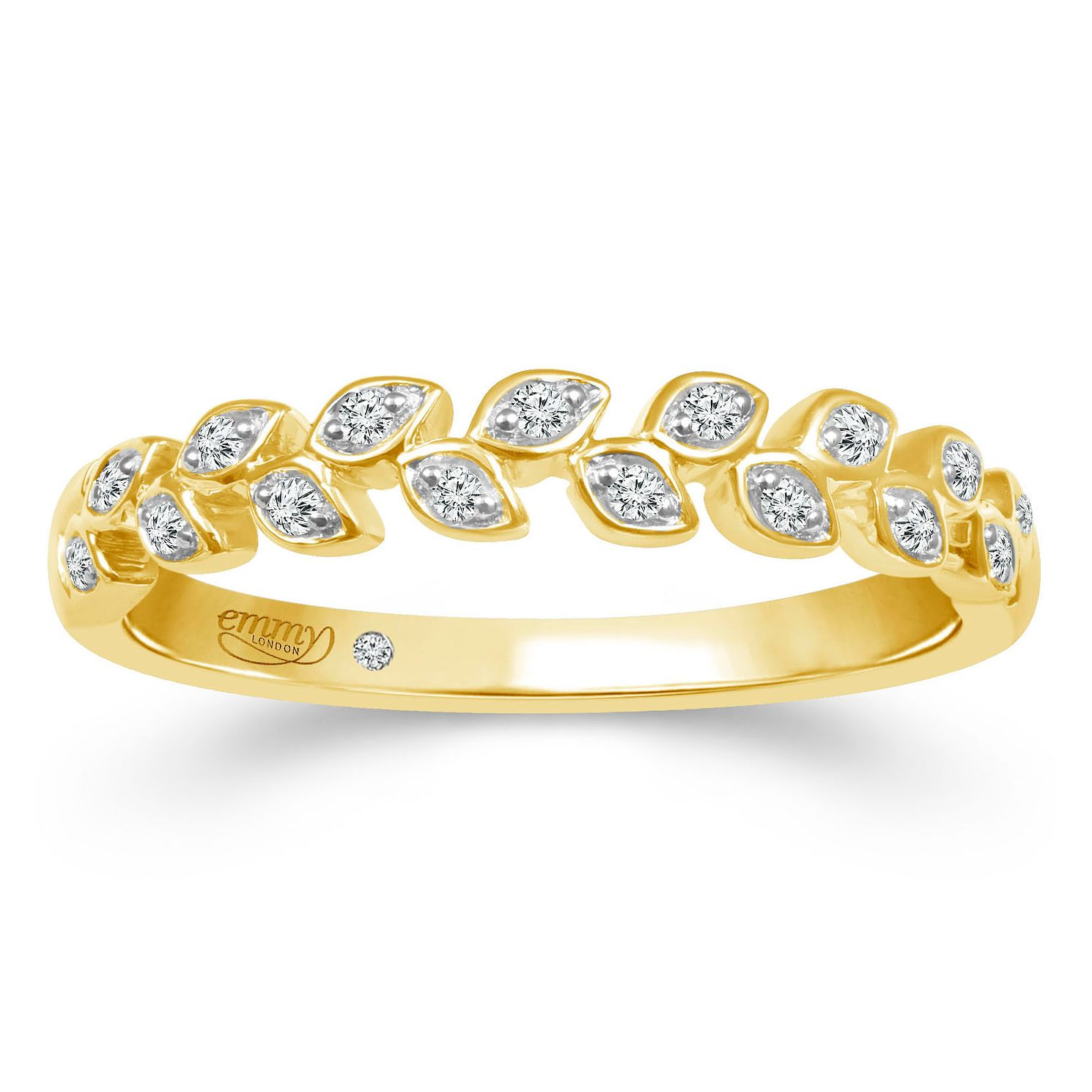 Emmy London 18ct Yellow Gold Diamond Leaf Eternity Ring - Product number 2884550