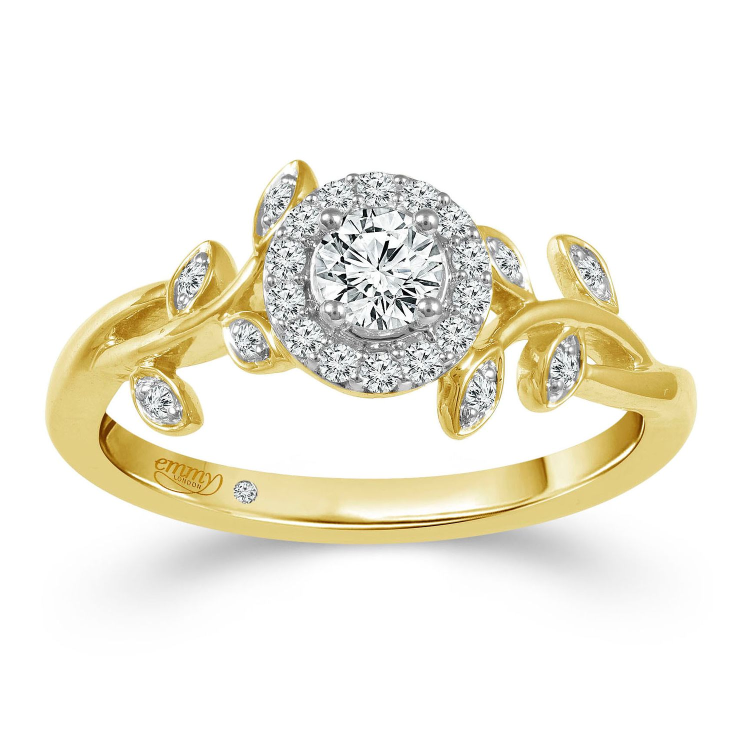 Emmy London 9ct Yellow Gold 1/3ct Diamond Leaf Halo Ring - Product number 2884844