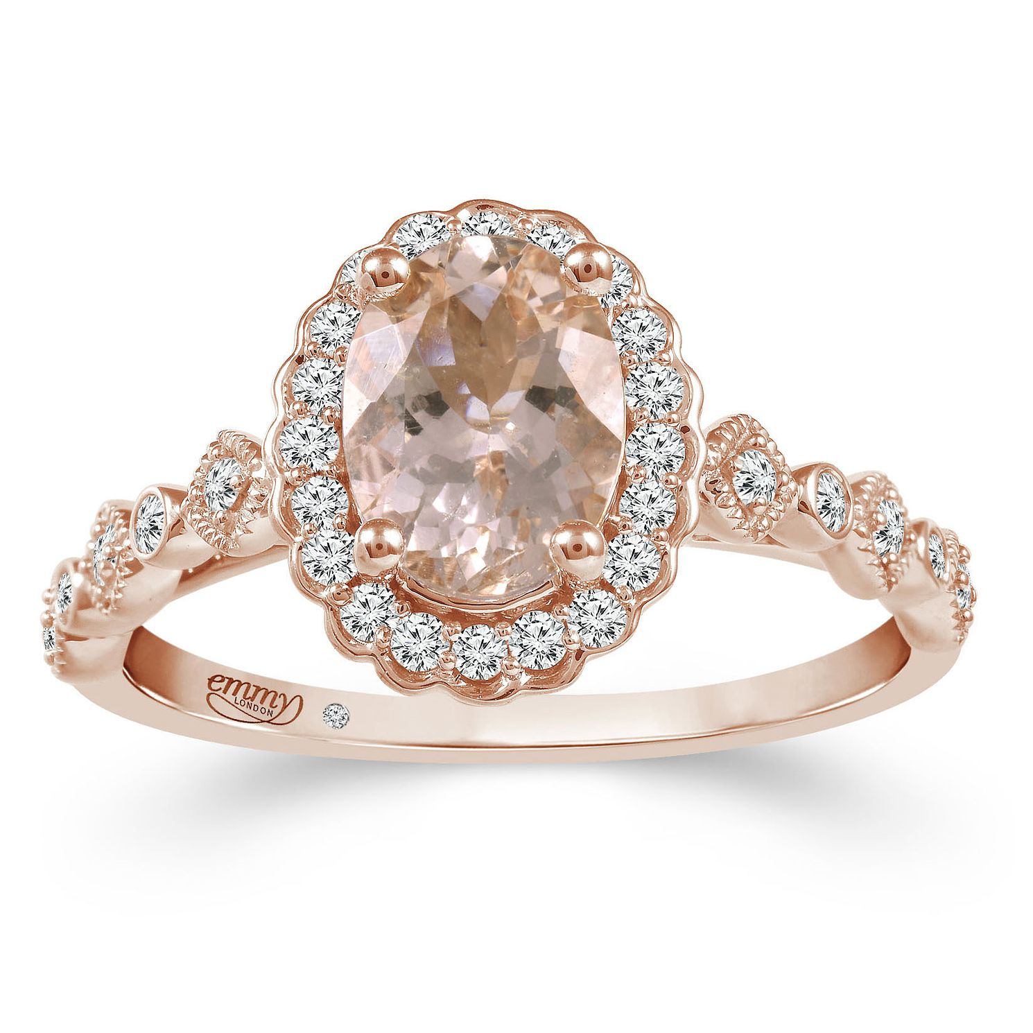 Emmy London 18ct Rose Gold Morganite 1/5ct Diamond Ring - Product number 2885735
