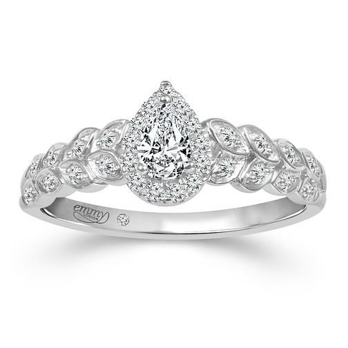 Emmy London 9ct White Gold 1/3ct Diamond Pear Ring - Product number 2886197