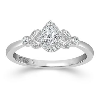 Emmy London Platinum 1/4ct Diamond Pear Ring - Product number 2886324