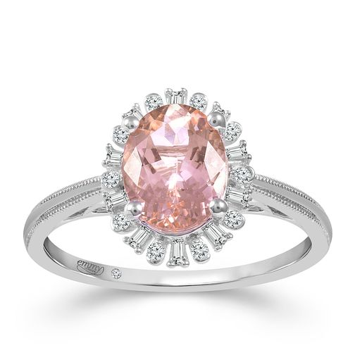Emmy London 18ct White Gold Morganite & 0.12ct Diamond Ring - Product number 2886855