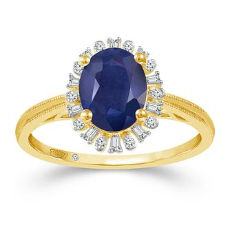 Emmy London 18ct Yellow Gold Sapphire & 0.12ct Diamond Ring - Product number 2887029
