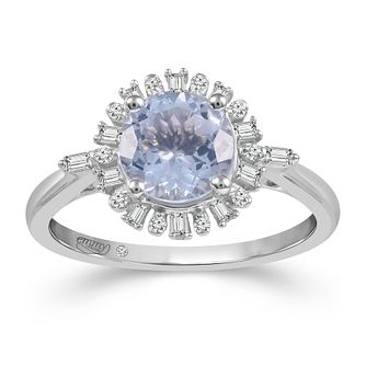 Emmy London 18ct White Gold Aquamarine & 0.12ct Diamond Ring - Product number 2887169