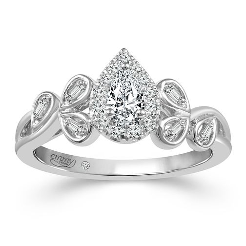 Emmy London Platinum 1/3ct Diamond Pear Ring - Product number 2887304