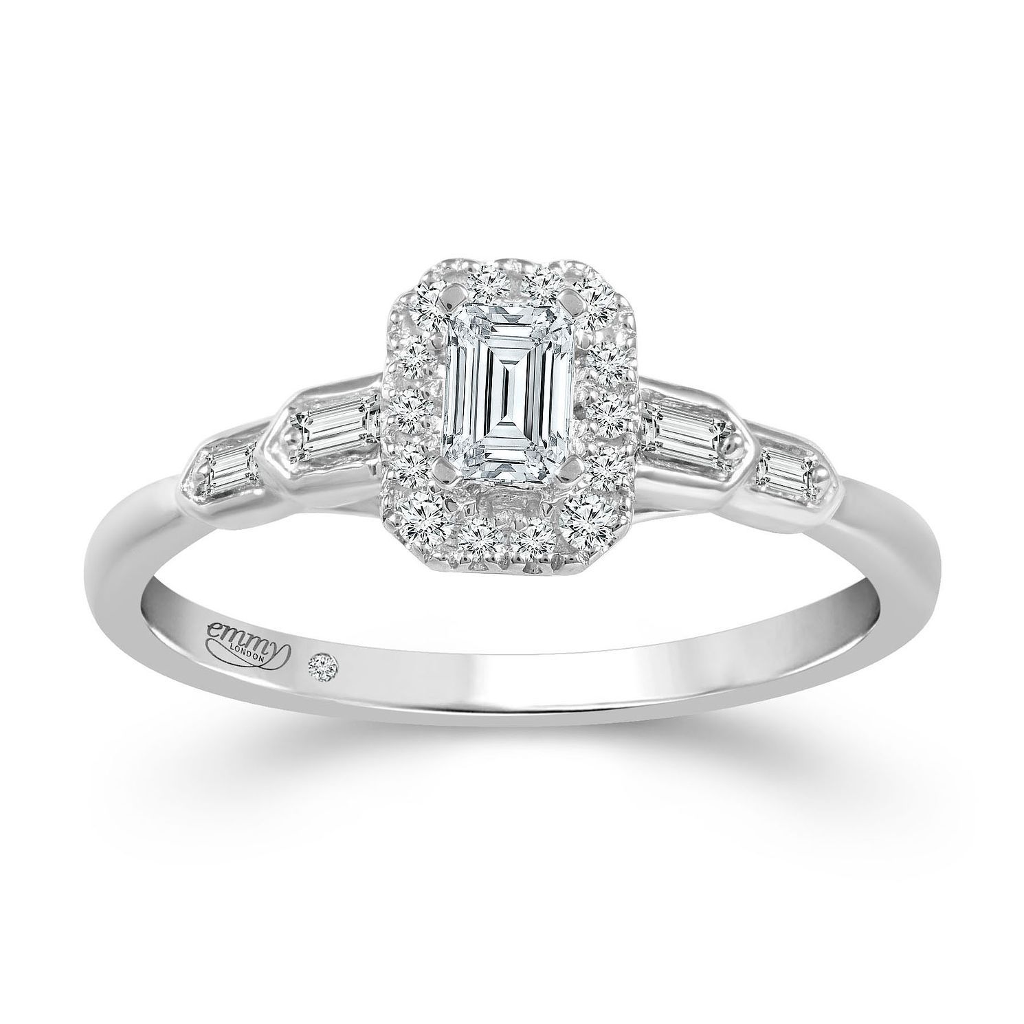 Emmy London Platinum 2/5ct Diamond Baguette Ring - Product number 2887576