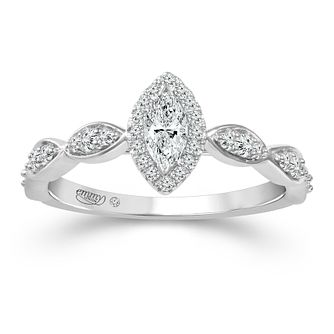 Emmy London 18ct White Gold 2/5ct Diamond Marquise Ring - Product number 2887703