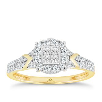 Princessa 9ct Yellow Gold 2/5ct Diamond Ring - Product number 2888238