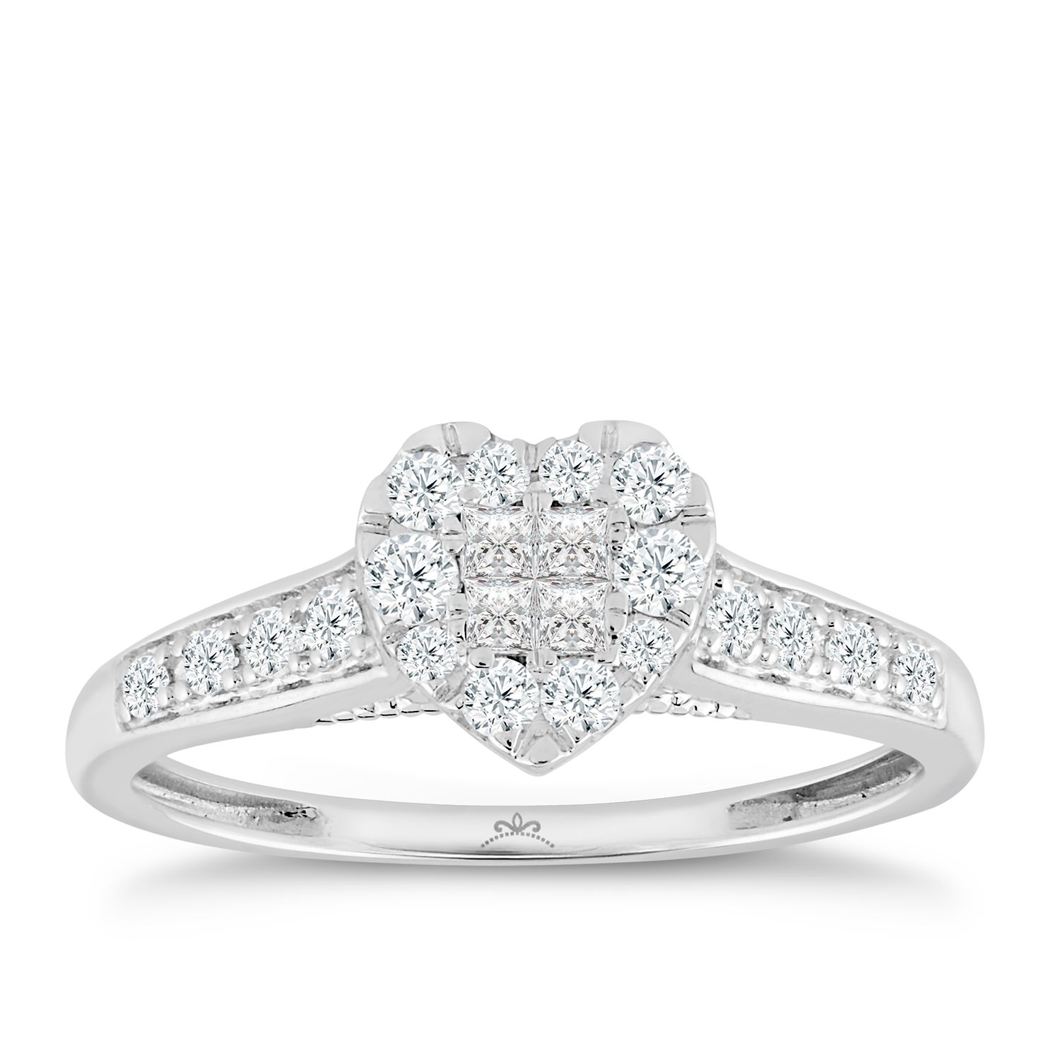 Princessa 9ct White Gold 1/3ct Diamond Heart Ring - Product number 2888378