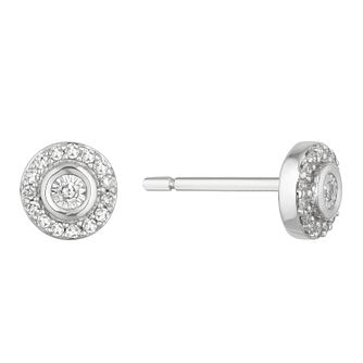 9ct White Gold 1/10ct Diamond Round Halo Stud Earrings - Product number 2888491