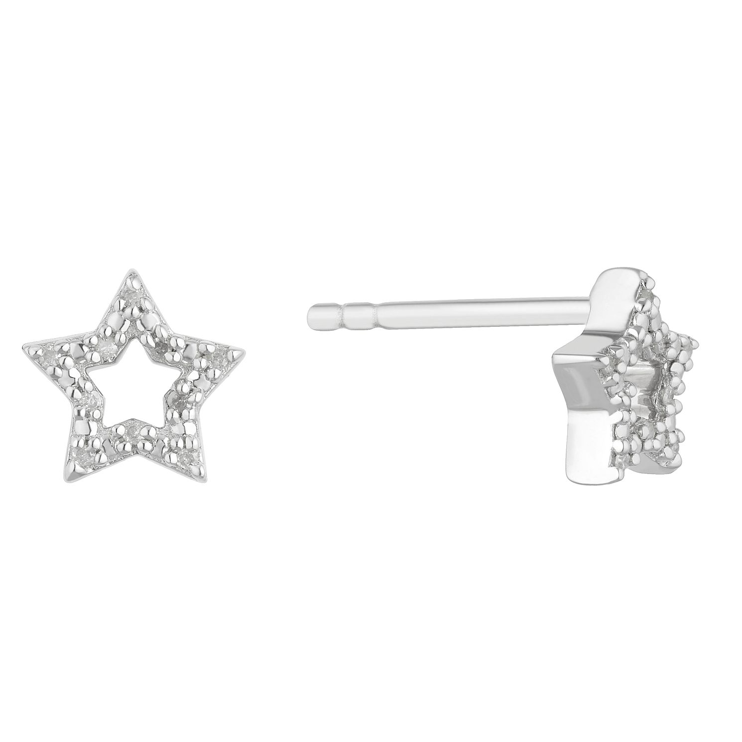 Sterling Silver Diamond Open Star Stud Earrings - Product number 2888505