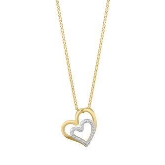 9ct Yellow Gold Diamond Heart Pendant - Product number 2888513