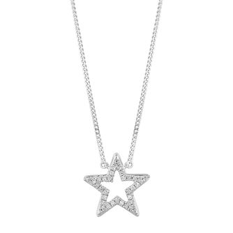 Sterling Silver Diamond Open Star Pendant - Product number 2888521