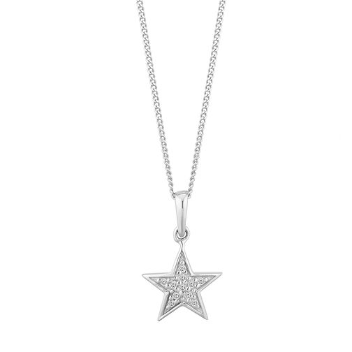 Sterling Silver Diamond Closed Star Pendant - Product number 2888548