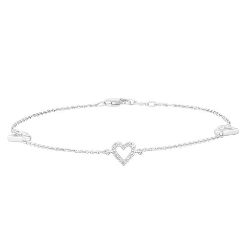 Sterling Silver Diamond 3-Heart Bracelet - Product number 2888564