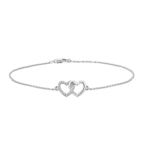 Sterling Silver Diamond Double Heart Bracelet - Product number 2888572