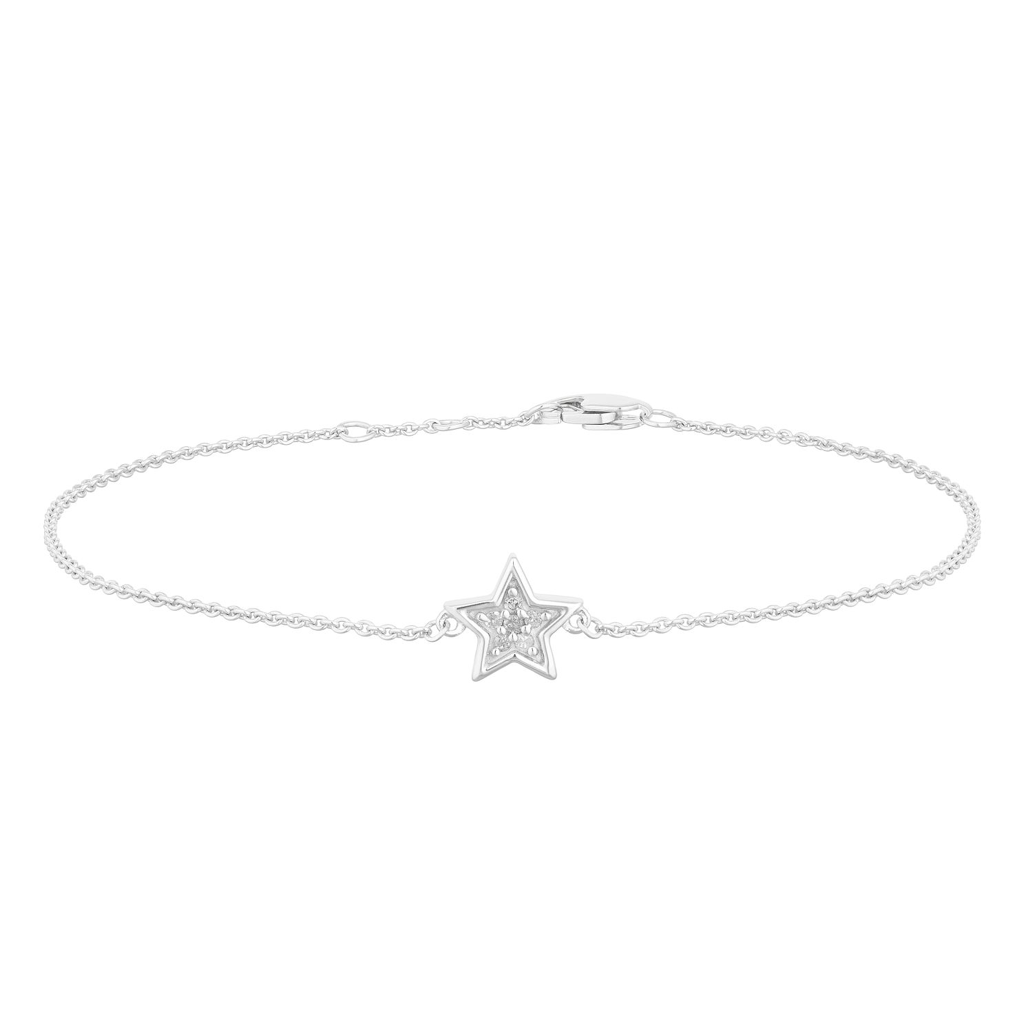 Sterling Silver Diamond Closed Star Bracelet - Product number 2888580