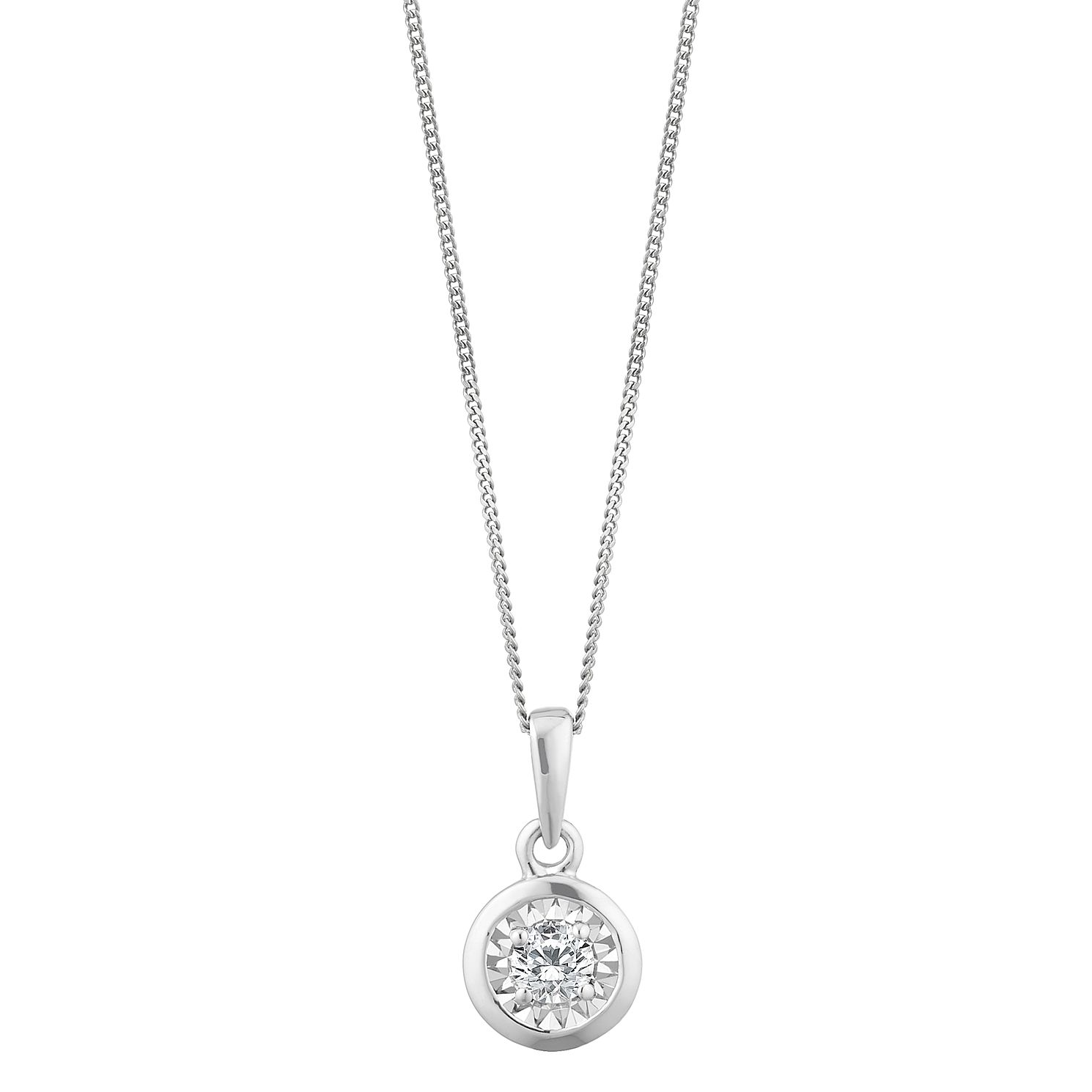 9ct White Gold Diamond Illusion Set Pendant - Product number 2888610