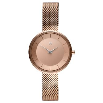 Mvmt Mod Ladies' Rose Gold Plated Mesh Bracelet Watch - Product number 2891883