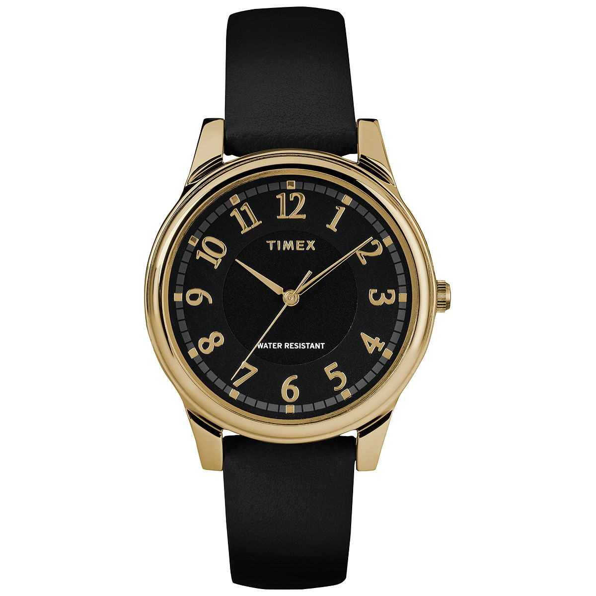 Timex Style Ladies' Black Dial Black Leather Strap Watch - Product number 2892251