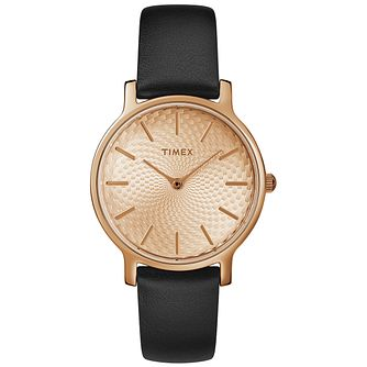 Timex Metropolitan Ladies' Black Leather Strap Watch - Product number 2892308
