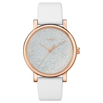 Timex Crystal Opulence Ladies' White Leather Strap Watch - Product number 2892324