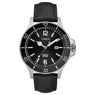 Timex Harborside Men's Black Leather Strap Watch - Product number 2892413