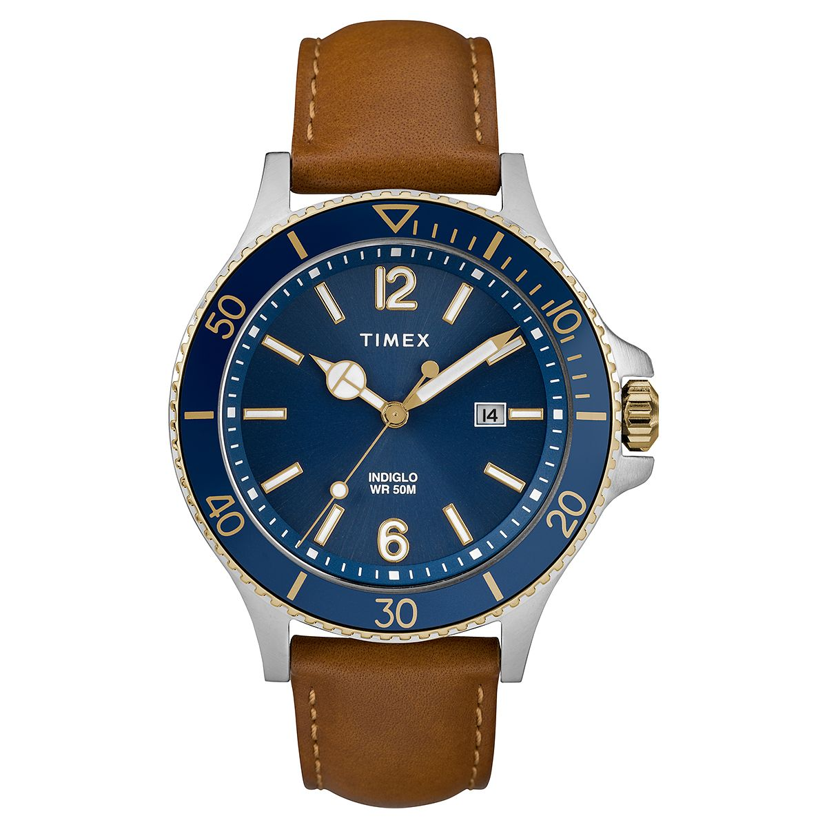 Timex Harborside Men's Tan Leather Strap Watch - Product number 2892421
