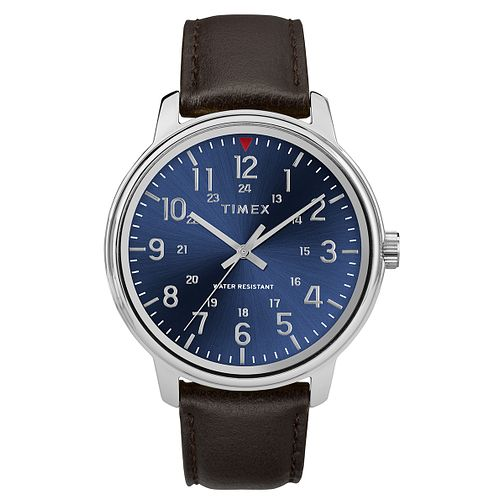 Timex Style Men's Blue Dial Brown Leather Strap Watch - Product number 2892472