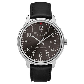 Timex Style Men's Black Dial Black Leather Strap Watch - Product number 2892480