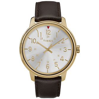 Timex Style Men's Silver Dial Brown Leather Strap Watch - Product number 2892499