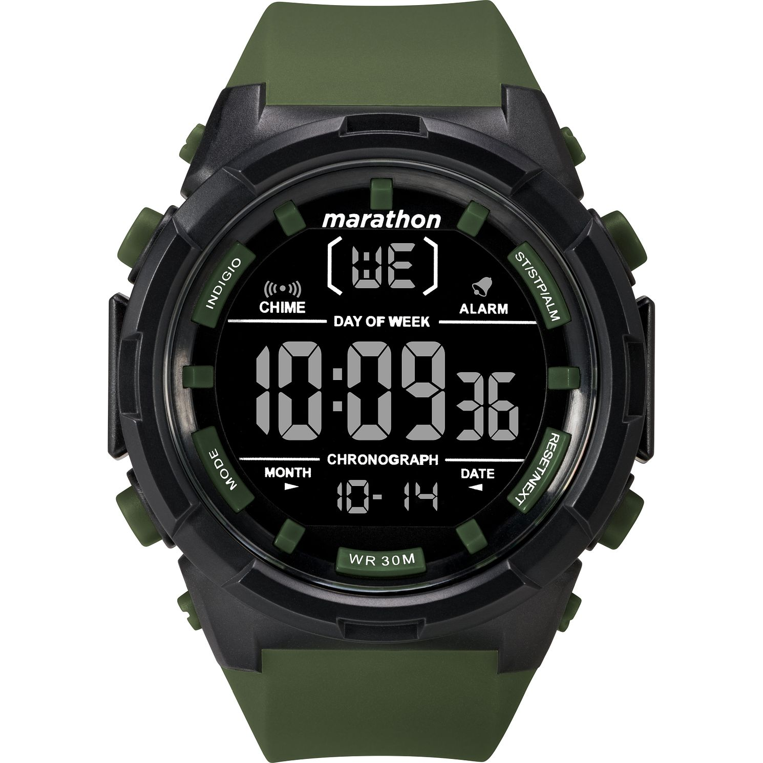 Timex Marathon Men's Digital Olive Green Resin Strap Watch - Product number 2892561