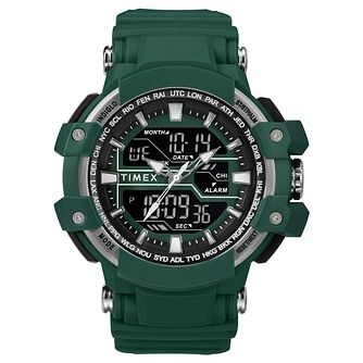 Timex Sports Men's Digital Green Resin Strap Watch - Product number 2892634