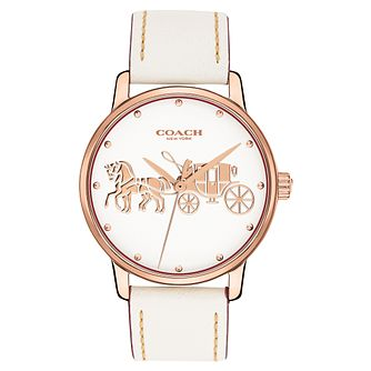 Coach Grand Ladies' White Leather Strap Watch - Product number 2897032