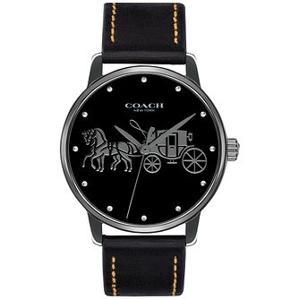 Coach Grand Ladies' Black Leather Strap Watch - Product number 2897040