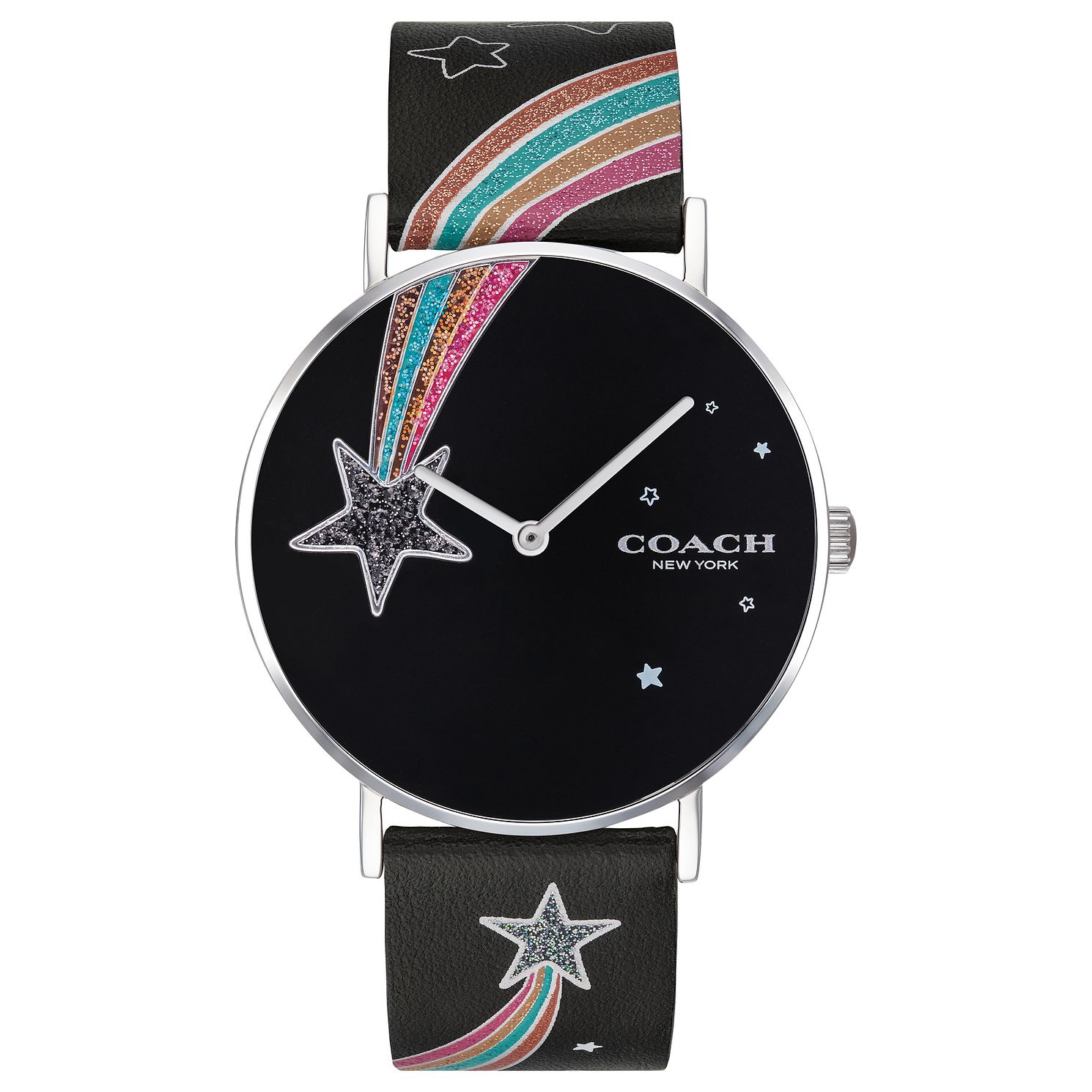 Coach Perry Ladies' Shooting Star Black Leather Strap Watch - Product number 2897121