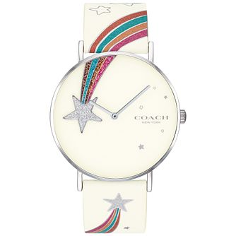Coach Perry Ladies' Shooting Star White Leather Strap Watch - Product number 2897148