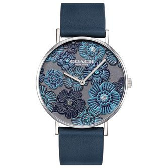 Coach Perry Ladies' Floral Dial Blue Leather Strap Watch - Product number 2897237