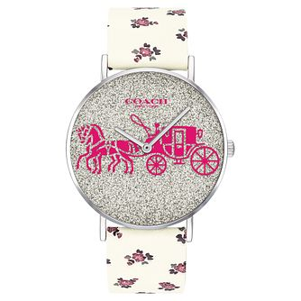 Coach Perry Ladies' Glitter Dial Floral Leather Strap Watch - Product number 2897245