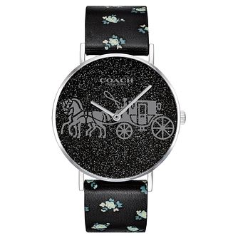 Coach Perry Ladies' Glitter Dial Floral Leather Strap Watch - Product number 2897253