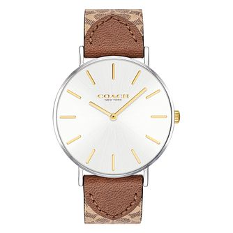 Coach Perry Ladies' Signature Brown Leather Strap Watch - Product number 2897326
