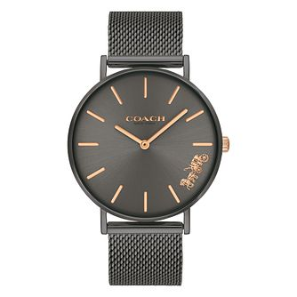 Coach Perry Ladies' Grey Ion Plated Mesh Bracelet Watch - Product number 2897377