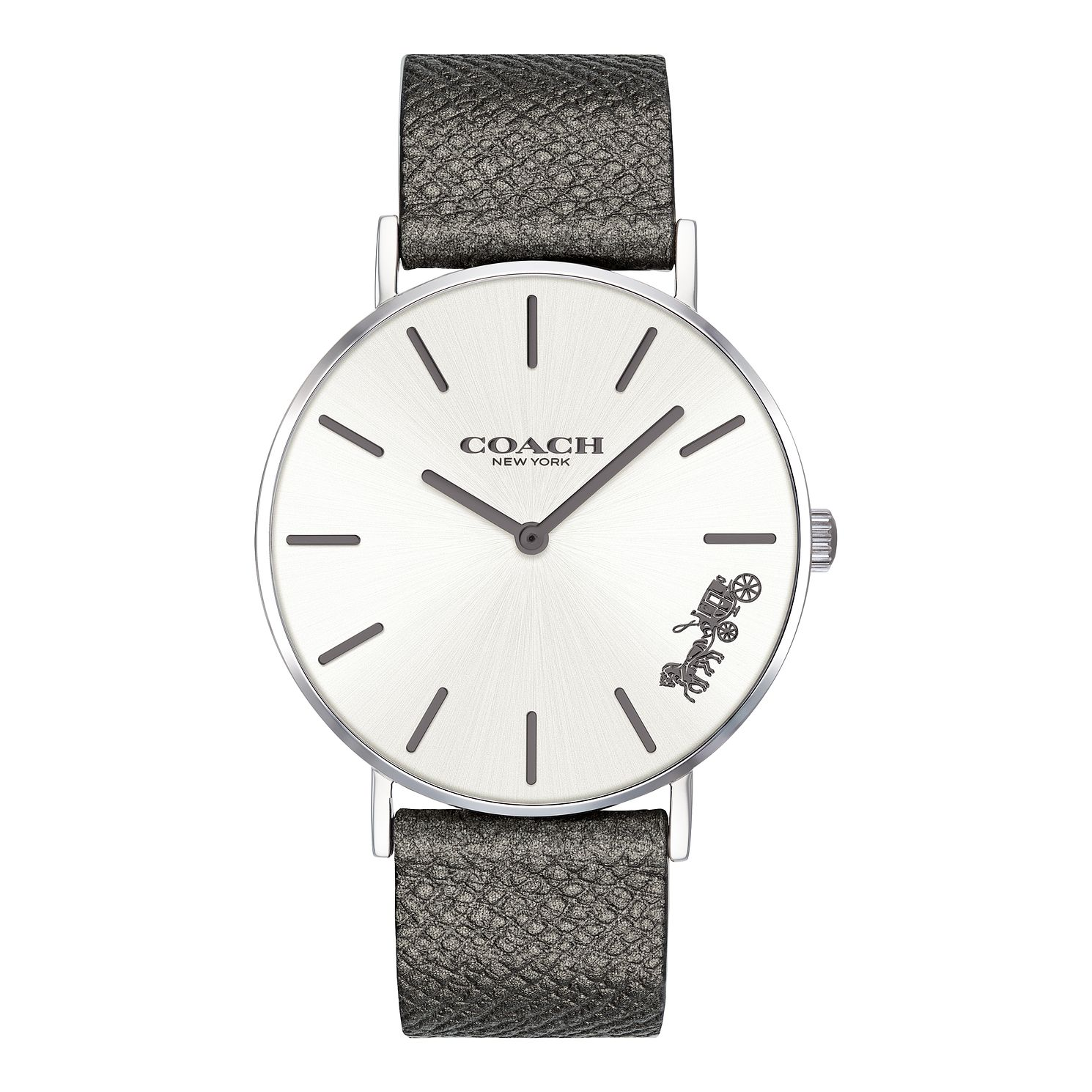 Coach Perry Ladies' Metallic Grey Leather Strap Watch - Product number 2897393