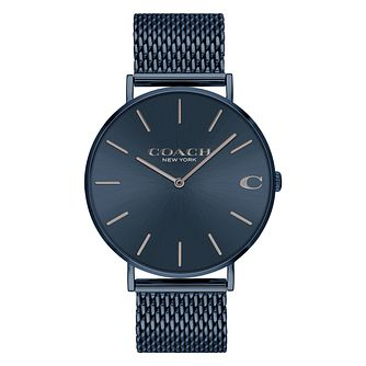 Coach Charles Men's  Blue Ion Plated Mesh Bracelet Watch - Product number 2897466